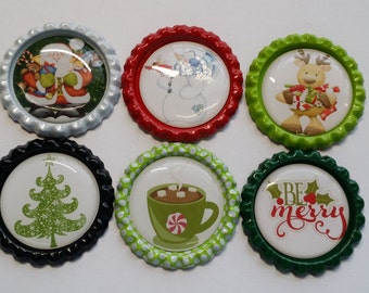 Set of 6 Christmas themed Finished Bottle Caps - Magnets - Necklaces