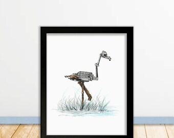"Flamingo, 11""x14"" image size, printable constant JPEG download, copy of original print"