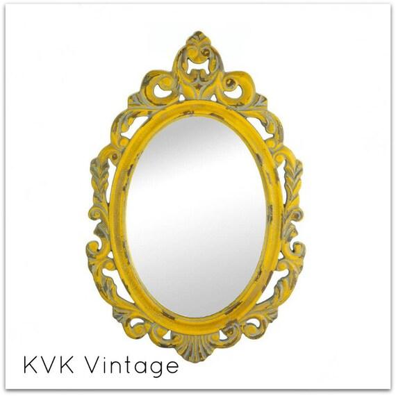 BOHO Vintage Distressed Yellow Wall Mirror - Wall Mirror - Mirror - Decorative Mirror