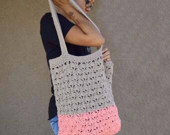 Crochet tote bag shoulder bag recycled cotton yarn avoska handmade bag beach farmers market boho bohemian summer tote gift for her