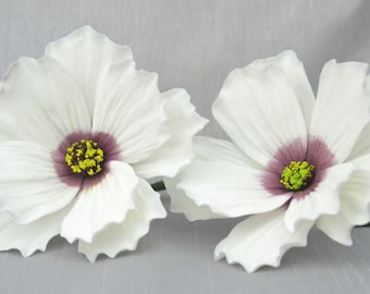 2 x Cosmos sugar flowers, sugarpaste, handmade, cake topper, wedding cake, edible, wired, white