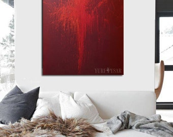 Red painting print canvas, LARGE wall art canvas, Giclee print ballerina art, Abstract art canvas by Yuri Pysar