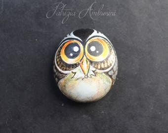 OWL N.42 -  Handpainted rock painting painted stone, halloween, scary, spooky, miniature painted rock pebble fine art