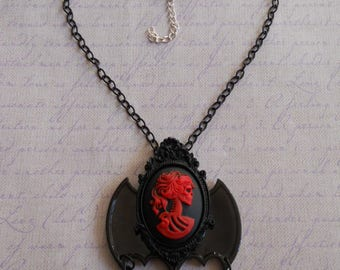 Gothic Lolita lady skull cameo in red with bat wings necklace and beads