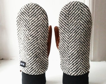 Herringbone wool and tan leather mittens for men and women