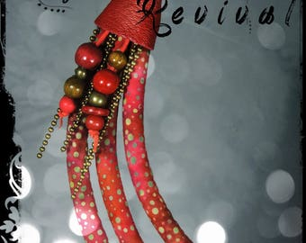 SOLD - Necklace REVIVAL - fabric with dominant red, purple, Garnet, rust and light khaki and green patterns-