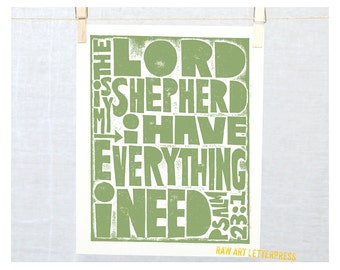 Psalm 23-1 The Lord is My Shepherd, Wall Art, Modern Nursery Art