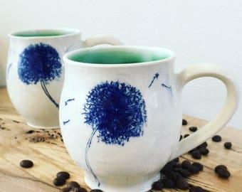 One Dandelion Porcelain Mug  - MADE TO ORDER
