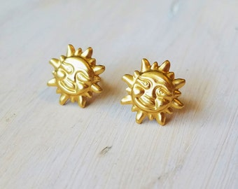 Golden sun stud earrings