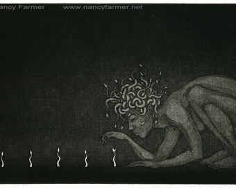 Original etching: Medusa with 'Spring Snakelings' from an edition of 18 prints.