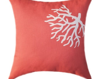 Coral Pillows, Decorative Pillow Covers, Coral Accent Pillows, Coral Cushions, Beach Decor Pillows, Coral Pillow Covers, Coral Euro Sham
