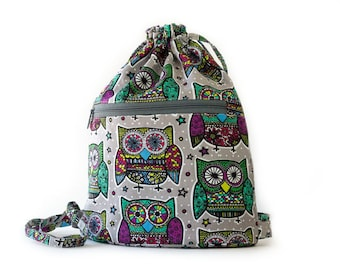 Owl Drawstring Backpack, Purple, Gray, Blue, Green, Pink, Yellow Cotton Fabric, Handmade