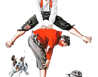 Leapfrog - Large Norman Rockwell Print - 1979 Vintage Book Page - Saturday Evening Post Cover - 14 x 12