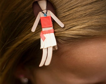 Moana Hair Clip - Moana Hair Bow - Moana Ribbon Sculpture - Disney Princess Clippie - Island Princess - Princess Party Favor - Moana Pin