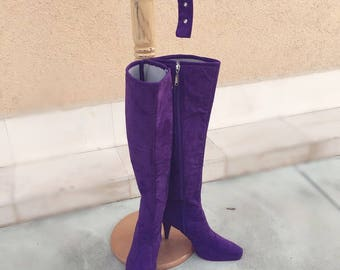 Purple suede Thigh High boots/Selena Quintanilla boots/ High heel suede boots/Stage boots/
