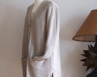 Classic linen cardigan, linen jacket with pockets, knitted linen cardigan, natural linen sweater, loose linen cardigan, summer linen coat