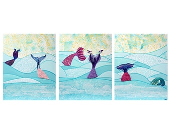 Mermaid Wall Art Painting on Large Canvas Triptych Textured Mermaid Tails and Aqua Ocean Waves - 50x20