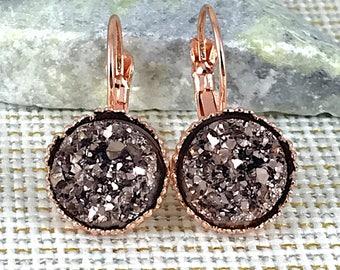Rose Gold Druzy Earrings - Leverback Earrings - Rose Gold - Rose Gold Jewelry - Bridesmaid Gift - Bridesmaids Earrings - Wedding Jewelry -