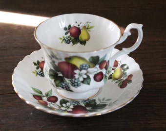 Royal Albert china tea cup and saucer fruit