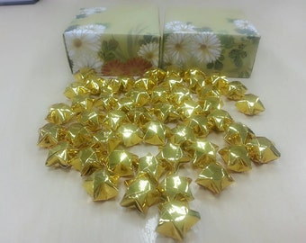 50pcs Sparkling Gold Lucky Start with Traditional Japanese Washi Floral pattern Gold Masu Gift Box