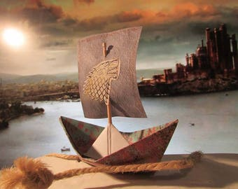 Game Of Thrones Boat Ship House Stark Direwolf Party Paperboat