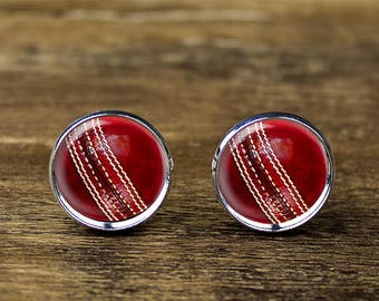 Cricket Ball cufflinks, Cricket Cufflinks, Sports cufflinks, Cricket jewelry