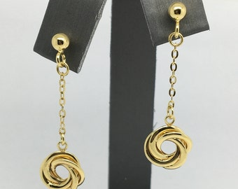 14K Yellow Gold Knot Dangling Earrings