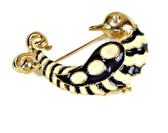 Bird of Paradise Brooch Black and White Enamel Gold Tone