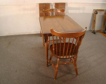 Hitchcock Solid Oak Drop Leaf Table And Two Chairs