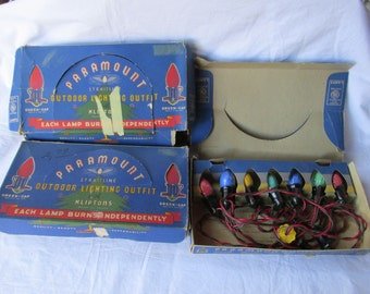 Vintage Lot of 3 Boxes Paramount Outdoor Christmas Lights 1930s GE Lamps Swirl 7 Bulbs per String No. 2000K