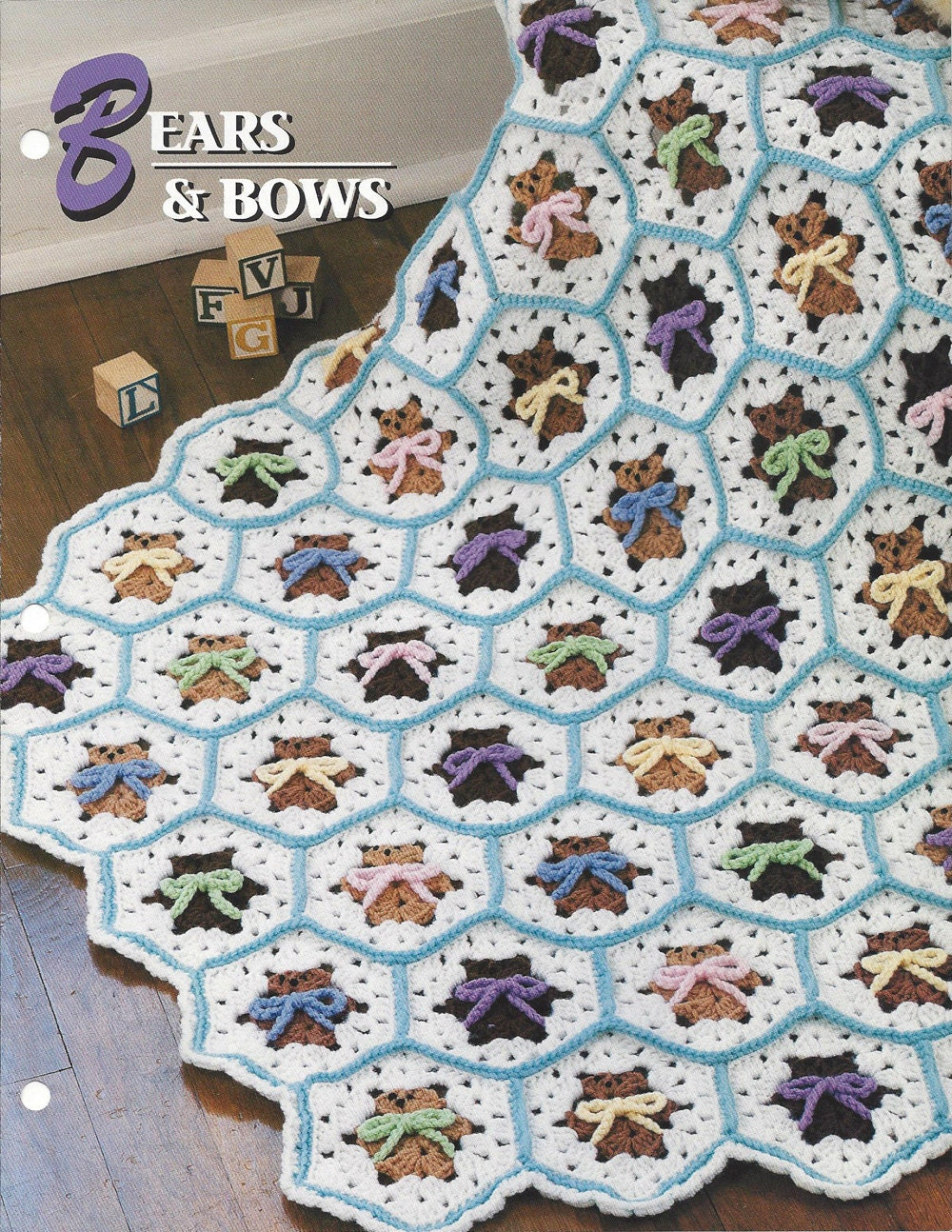 Bears And Bows Annie\'s Crochet Quilt & Afghan Pattern
