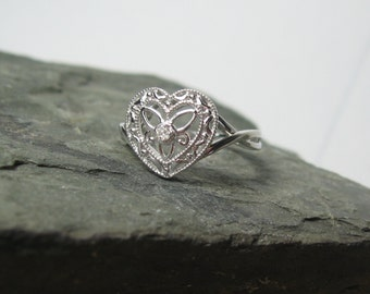 Sterling Silver Heart Diamond Promise Ring, Ready to Ship, Size 5