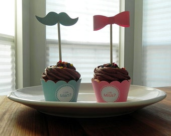 Gender Reveal Cupcake Wrappers: Little Man or Little Miss Baby Shower - Die Cut Pink and Blue Boy