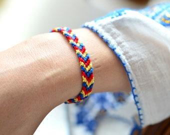 Romanian Bracelet Romanian Flag Red Bracelet Martisor Romanian Day Adjustable Bracelet Friendship Bracelet Cotton Bracelet Romanian Colors