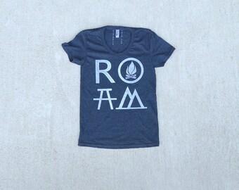 Mountain Hiking Tshirt, Outdoor Vacation Gift for Women, Wanderlust Clothing Travel Gift for Her, Girlfriend Shirt, ROAM T Shirt, Black