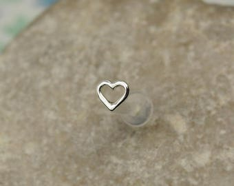 Heart Tragus Earring - 16g Tragus Piercing - Heart Helix Stud - Heart Helix Studs - Helix Earring - Helix 16 Gauge Stud - Cartilage Heart