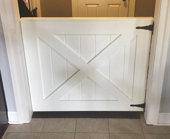 Custom Barn Door Baby Gate White Painted Baby And Pet Gate
