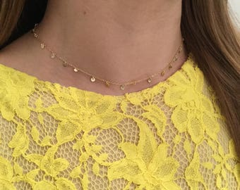 Delicate Gold Choker For Women Disc Choker Choker Collar Dainty Necklaces for Sisters Gold Filled Choker Chain Layering Choker Jewelry