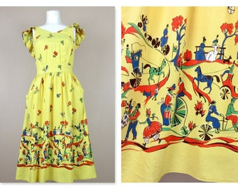 Vintage 1940s Cotton Summer Dress, Horses / Carriages Print, Yellow, Small Size, Summer Wedding Ready, Pinafore Style, Novelty Border Print