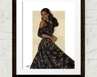 Fashion illustration - Fashion art print - Dior- Christian Dior- Couture