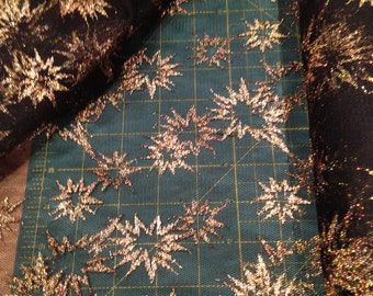 Gold Starbursts on Black Tulle Fabric x one yard