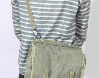 Distressed Canvas Military Bag, Army Cross Body Bag, Khaki Canvas Shoulder Bag