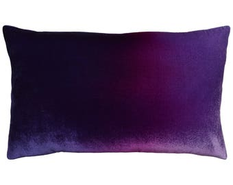 "Purple velvet pillow, Hand painted gradient from dark purple to magenta to lilac, Silk velvet lumbar pillow 20x12"" for couch armchair & bed"