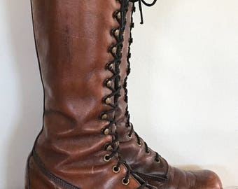 Frye tall lace up boots 1970 vintage beautiful patina soft great condition