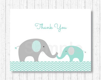 Elephant Thank You Card / Elephant Baby Shower / Mint Green & Grey / Folded Card Template / PRINTABLE Instant Download A101