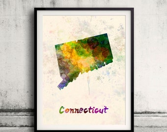 Connecticut state map in watercolor on warm background - SKU 0845