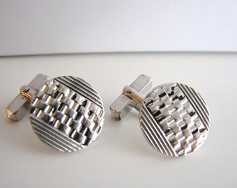 VIntage simple silver and black circle cuff links