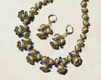 Silver and Sapphire Blue Glass Hand Beaded Necklace With Oval Glass Pearls and Matching Earrings and Magnetic Closure
