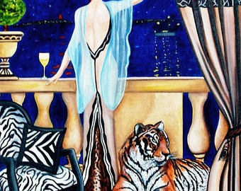 Art Deco Print, Tiger print, Art Deco Poster, Art Deco, Animal Art Print, Zoo Animal