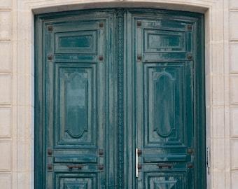 Paris Door Photograph - Teal Blue Door, French Fine Art Travel Photograph, Home Decor, Wall Art